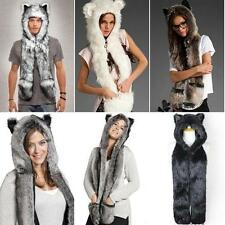 Hat Faux Fur Warm Hoodie Hat Beanie Scarf Long Paw Gloves with Pockets BIUS