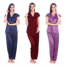 WOMENS SHORT SLEEVE GIRLS PYJAMA SET LADIES SATIN PJ'S NIGHTWEAR SET 8-12