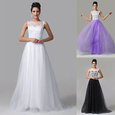 New Long Lace Tulle Ballgown Bridesmaid Evening Bridal Prom Party Formal Dress