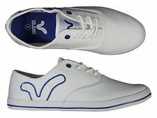 MENS VOI JEANS FIERY WHITE DESIGNERTRAINERS  LACE-UP LOW PLIMSOLLS ALL SIZES
