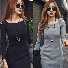 Women Casual Long Sleeve Slim Off Shoulder Sweater Knitwear Bodycon Mini Dress