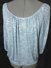 NWT wide scoop neck Sweater Top womens S,M,L Blue White silky knit TRES BIEN hot
