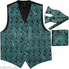 GREEN Paisley Tuxedo Dress Vest Waistcoat & SELF TIE Bowtie And Hanky Set Weddin