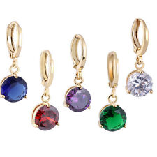 Hot 18K Gold Filled Crystal Rhinestone Round Drop Dangle Earrings