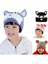 Cute Baby Boys Girls Winter Wool Cat Mouse Dog Earflap Knit Hat for 2-8 YRS