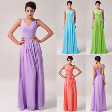 Sexy Long Pleated V Neck Evening Gown Formal Party Prom Wedding Bridesmaid Dress
