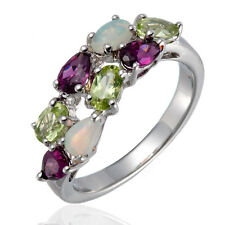 Opal, Peridot and Rodolite Gemstone Sterling Silver 925 Ring for Women