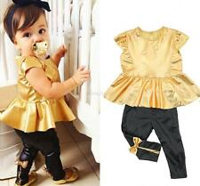 Trendy Baby Girls Kids Shirt Dress + Legging Pants Clothes Sets Suit Outfits E99