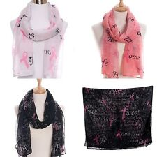 NEW Pink Ribbon Breast Cancer Awareness Scarf Scarves Chic Hope Love Peace Faith