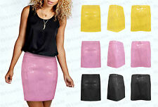 Womens Ladies New Mini PVC PU Wet Look Shiny Vinyl Party Hipster Sexy Skirt S-L
