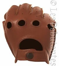 MEN'S BROWN LEATHER FINGERLESS DRIVING GLOVES