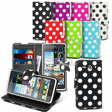 POLKA DOT BOOK WALLET LEATHER CASE COVER POUCH FOR HUAWEI ASCEND Y530