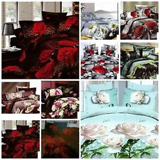 SINGLE 3D EFFECT DUVET QUILT COVER SET4 PCS BED LINEN BED IN A BAG