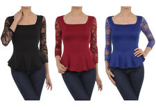 Sexy Lace Long Sleeve Square Neck Fitted Pleated Hi-Low Hem Peplum Shirt Top