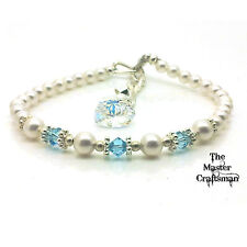 ☆PERSONALISED ANY BIRTHSTONE CRYSTAL PEARL BRACELET CHRISTMAS GIFT HEART CHARM☆
