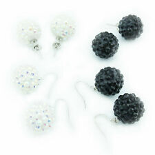 Rhinestone Ball Earrings Pair 16mm white black Studs or Hook earrings Earrings