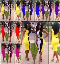 NEW 2014 lady's sexy women summer plus size Yellow black white patchwork bandage