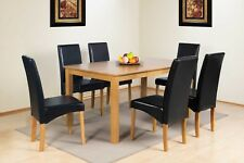 DINING TABLE AND CHAIRS SOLID WOOD OAK FINISH TABLE + 4 OR 6 FAUX LEATHER CHAIRS