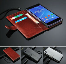 Wallet Flip Folio Leather Case Stand Cover For Sony Xperia Z Z1 Z2 Z3 Compact T2