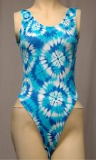 Blue Spandex Thong Leotard for Women size 10 Small or 12 Medium