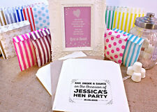 Personalised Hen Party Sweet Bags VINTAGE RETRO SHABBY Candy Cart Wedding Favour