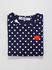 COMME DES GARCONS CDG PLAY LONG SLEEVES DARK BLUE DOTS RED HEART