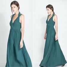 ZARA bnwt green maxi dress grecian gathered size Medium M