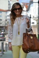 ZARA cream lace Embroidered Guipure Crochet top blouse bloggers Sold Out S M