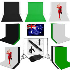 Studio 3x6m Black White Green Screen Cotton Muslin Backdrop Background Stand Kit
