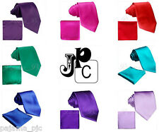 New Microfiber Satin Solid Neck tie and & Pocket Square Hankie Set Brand Q Prom