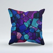 SUEDE STYLE 18x18 Inch FILLED THROW CUSHION - Blue 3d Cubes