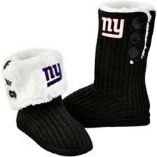 NFL New York Giants Women's Knit High-End Button Boot Slippers NEW