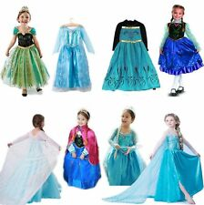Frozen Anna Elsa Princess Costume Kids Party Fancy Dress Queen Snow Queen