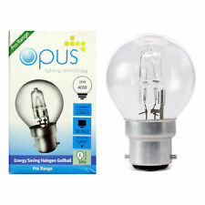 Opus Eco Halogen Energy Saving Golf Ball Light Bulbs 28w=40w E14 B22 E27 B15 Cap