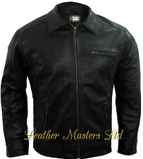 Need For Speed Real Sheep Black Leather Stylish Casual Wear Men Jacket BNWT