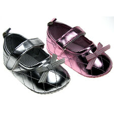 Baby Girl Pre-Walker soft sole PARTY/WEDDING with velcro strap. Matalic silver.