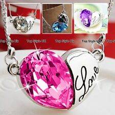 Heart Diamond Crystal Necklace Engraved with word Love Cute gift for her Girl