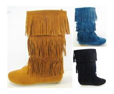 Women Mid Calf Faux Suede Moccasins Flat 3 Layer Fringe Side Zipper Boots Shoes