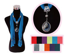 11 Colors Fashion Jewelry Scarf Wrap Necklace Feather Gem Pendant Charm Tassel