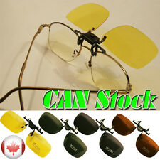 Day Night Vision Polarized Driving clip-on flip up lens Sunglasses Free Shipping