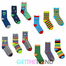 Boys Cotton Rich Design Socks 3 Pack Fun Funky Colourful Stripe Novelty Socks