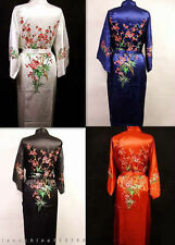 HOT Chinese Silk Women's Kimono Robe Gown bathrobe/gown wintersweet S-XXL