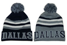 Dallas Winter Beanie Hat : Classic Pom Pom Knit Ski Cap : Blue & Gray