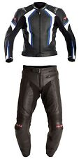 RST R-14 2PC BLUE Suzuki/BLACK Motorcycle Leather Jacket & Trousers Suit Cheap
