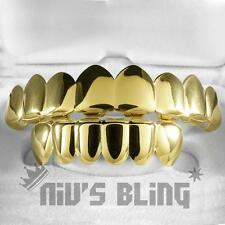 18K Gold Plated GRILLZ 8 Tooth Top & Bottom Mouth Hip Hop STAINLESS STEEL Grill