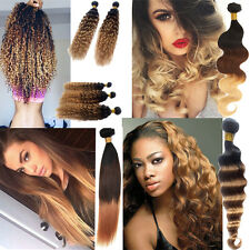 Hot ! Ombre Brazilian Virgin Hair Extensions Body Wave Three Tone 1b33#27# Hair