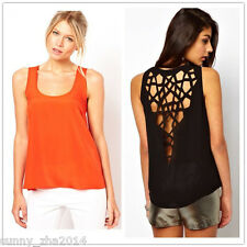 Women Sexy Vest Waistcoat Hollow Out Back Hole O-neck T-shirt Women Clothing