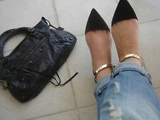 ZARA Pointy black flats with gold metal ankle strap Sold out Bloggers ALL SIZES