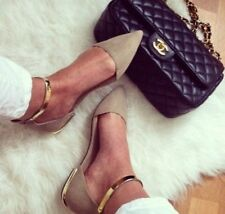 ZARA Pointy taupe flats with gold metal ankle strap Sold out Bloggers ALL SIZES