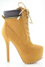 Britney-11 Stiletto Heel Platform Lace Up Decor Zipper Ankle Boots Booties Shoe